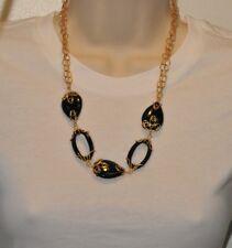 Technibond LONG Oval Drop Onyx Necklace 14K Clad Silver