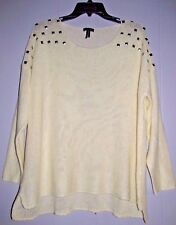 PAC SUN by NOLLIE -Women's White Knit Sweater with Silver Studs-Size M   (#1330)