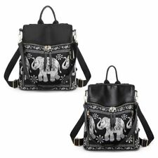 Women Shoulder Bag Backpack Elephant-Print Travel Rucksack Hand Bag Girl Daypack
