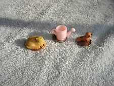Lot 3 Plastic Dollhouse Miniatures Cat Bird Pink Watering Can Vtg Toys Mix Tiny