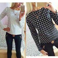 Fashion Women's Bell Sleeve Loose Polka Dot Shirt Ladies Casual Blouse Tops Plus