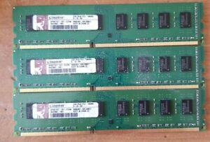 3 Kingston HP497157-ELFWG 6GB total,  2GB each  PC3-10600 Desktop Memory