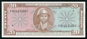 SERIES 681 $20 TWENTY DOLLARS MPC MILITARY PAYMENT CERTIFICATE GEM UNC