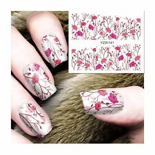 Nail Art Water Decals Stickers Transfers Spring PINK Flowers Gel Polish (YZW141)