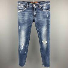 DOLCE & GABBANA Size US 32 / IT 48 Indigo Distressed Denim Button Fly Jeans