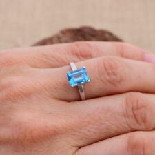 London Blue Topaz 925 Sterling Silver Emerald Cut Octagonal Ring