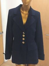 YSL Yves Saint Laurent Vintage Navy Wool Redingote Long Jacket French Size 36