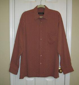 BUGATCHI UOMO Striped Men's Dress Button Down Shirt ~ SZ L ~ Excellent!!