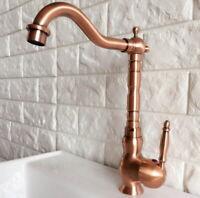 Antique Red Copper Deck Mount Bathroom Basin Mixer Tap Sink Swivel Spout Faucet