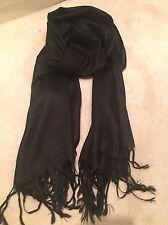 Black Pashmina Silk Shawl Scarf Wrap Summer Handmade Fine Knit Cashmere Wool NEW