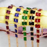 Fashion 18k Yellow Gold Plated Austrian Crystal Chain Brilliant Woman Bracelet