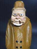 Vintage Belgium Wood Carving Figurine Fisherman With Yellow Rain Coat