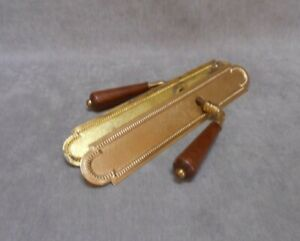 Set of  FRENCH Vintage Brass FINGER Plates + wood Handles