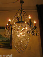 Vintage Unique.HUGE 6 arms French Swarovski cut Crystal Chandelier Light 21 in