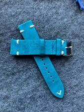 22mm Quick Release Blue/Green (Aqua) Leather Watch Strap Band