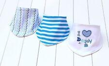 Bandana bibs dribble boys I Love Daddy 3 pcs Baby Toddler triangle white blue