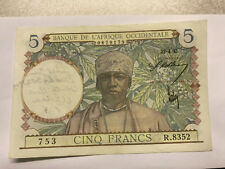 1944 Banque de L'Afrique Occidentale 5 Francs Note Graffiti #8693