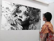 Huge Urban princess Street art canvas Australia face girl abstract Quality