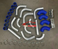 "2.5"" 63mm Aluminum Universal Intercooler Turbo Piping + BLUE hose+ T-Clamp kits"