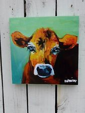 Small cow face farm animal canvas wall picture primitive farmhouse home decor