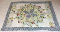 Patchwork Quilt Wall Hanging, Star With Diamonds, Floral Calicos, Blue, Yellow