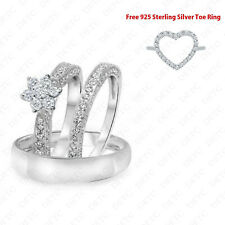 Men women trio rings set 2.2ct diamond wedding band marriage 14k white gold over