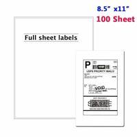 "Shipping Labels for Laser/Inkjet Printer 8.5"" x 11"" Full Sheet - 100 Labels"