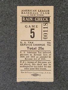 1936,1937,1938,1939,1940 NY Yankees Ticket Stub Lou Gehrig & Joe DiMaggio era