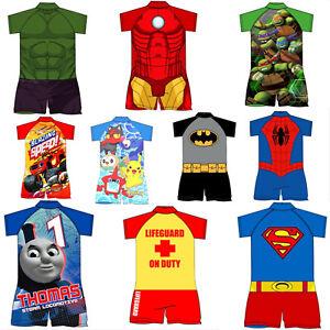 Boys One Piece Swimsuit Swimming Swim Sun Safe Costume Surf Suit Baby Age 1 - 5