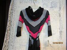 BCX Hot Pink Stripe Sweater w/Belt  Large  NWT Black Gray Ladies