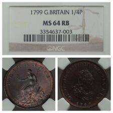 FARTHING 1799 NGC MS 64 RB 1/4P GREAT BRITAIN