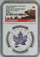 2016 NGC Canada Silver Maple Leaf Reverse Proof WWII Mark-V Tank Privy PF69 FDOI
