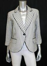 CYNTHIA ROWLEY Off White/Black Stitched Striped 3/4 Sleeve Lined Blazer sz M