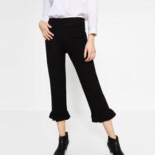 ZARA Black faux leather crop pants Ruffle hem XS NWT