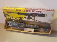 Tin Toy 1950's Nomura-Japan bat. oper. HEAVY MACHINE GUN ON TRIPODE mint in box.