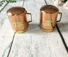 O.D.I. Copper Salt & Pepper Shakers Gold Pour La Table Handle Made In Portugal