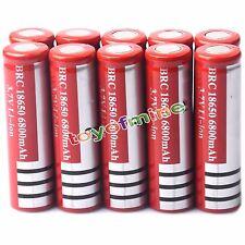 10x 3.7V 18650 Li-ion 6800mAh Flat Top Flashlight Rechargeable Battery