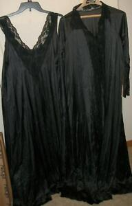 Vintage Negligee & Peignoir Set Black Lace Trim Nylon USA Made Large