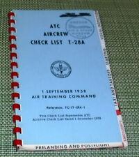 T-28A, Air Crew Checklist,Air Training Command,G+,SB,1 Sep 1958,   wr