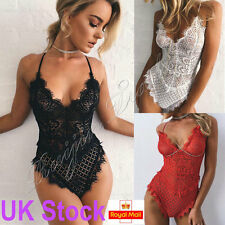 Strappy Plunge V Neck Full Lace Cross Back Bodysuit Bodycon Women Top New UK