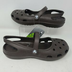 Crocs Womens Shayna Mary Jane Shoes Size 10 Brown Rubber Flats