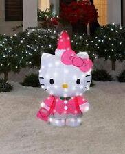 "On Sale 42"" Lighted Hello Kitty Santa Hat Tinsel Sculpture Christmas Yard Decor"
