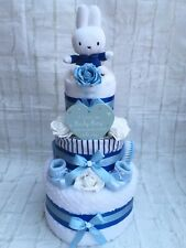 3 TIER MIFFY BLUE BOYS NAPPY CAKE BABY SHOWER NEW BABY - FREE POSTAGE!!