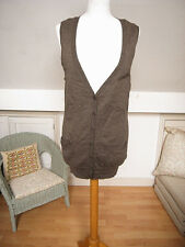 New Gap Italian Merino wool light brown dark beige knit vest top tunic S-L