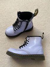 Kids Lilac Purple Patent Leather Dr Martens Boots Size 8 UK Infant