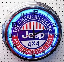 "17"" JEEP The American Legend Sign Single Neon Clock Since 1941"