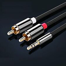 2M Meter Stereo 3.5mm Jack Audio Plug to 2 X RCA Gold Male Cable Lead PHONO TWIN