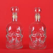 2 Glas-Flasche 500ml Dekanter Totenkopf Schädel Karaffe für Whisky-Behälter 0,5l