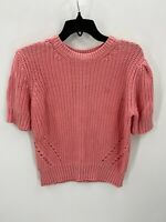 Lucky Brand Womens Short Sleeve Cable Knit Pink Sweater Size  L Large