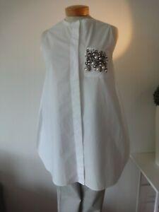 °Dorothee Schumacher° long Bluse Hemd weiß (Gr.2/36-38) Perlen!!